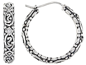 Pre-Owned White Cubic Zirconia Rhodium Over Sterling Silver Hoop Earrings 0.22ctw