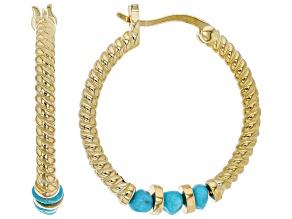 Pre-Owned Sleeping Beauty Turquoise 18K Gold Over Silver Hoop Earrings