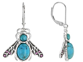 Pre-Owned Blue Turquoise Rhodium Over Silver Bee Earrings .15ctw