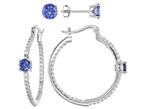 Pre-Owned Blue And White Cubic Zirconia Rhodium Over Sterling Silver Earring Set 4.73ctw