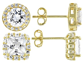 Pre-Owned White Cubic Zirconia 18k Yellow Gold Over Sterling Silver Stud Earrings- Set of 2 7.40ctw
