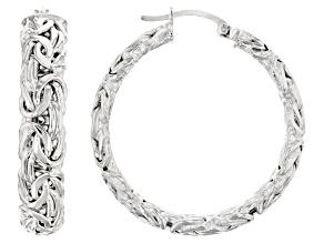Pre-Owned Sterling Silver Byzantine Hoop Earrings