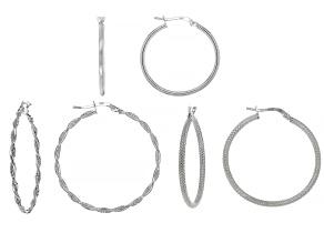 Pre-Owned Sterling Silver Set Of 3 Hoop Earrings