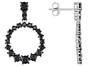 Pre-Owned Black Spinel Rhodium Over Sterling Silver Earrings 2.12ctw