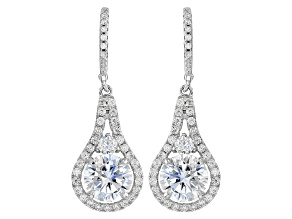 Pre-Owned White Cubic Zirconia Rhodium Over Sterling Silver Earrings 7.85ctw