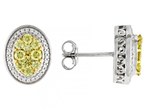 Pre-Owned Yellow And White Cubic Zirconia Rhodium Over Sterling Silver Earrings 2.03ctw