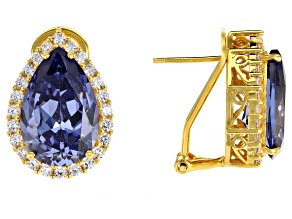 Pre-Owned Blue & White Cubic Zirconia 18k Yellow Gold Over Sterling Silver Center Design Earrings 18