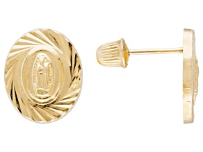 Pre-Owned 14k Yellow Gold Our Lady Of Guadalupe Stud Earrings