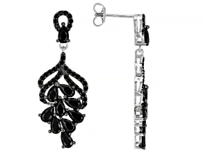 Pre-Owned Black Spinel Rhodium Over Sterling Silver Dangle Earrings 4.04ctw