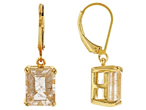 Pre-Owned Golden rutilated quartz 18k yellow gold over sterling silver dangle earrings 4.84ctw