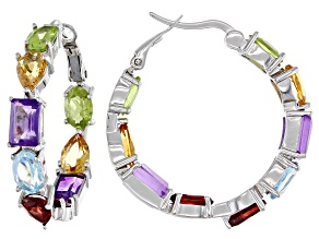 Pre-Owned Multi Gemstone Rhodium Over Silver Hoop Earrings 8.95ctw