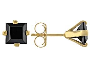 Pre-Owned Black spinel 18K gold over sterling silver men's earrings 3.74cye