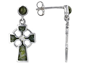 Pre-Owned Green Connemara Marble Sterling Silver Celtic Cross Earrings
