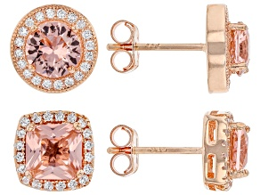 Pre-Owned Morganite Simulant & White Cubic Zirconia 18k Rose Gold Over Sterling Silver Earrings 6.50