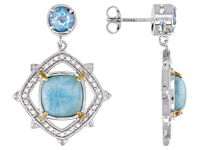 Pre-Owned Blue Larimar Rhodium Over Sterling Silver Earrings 2.32ctw
