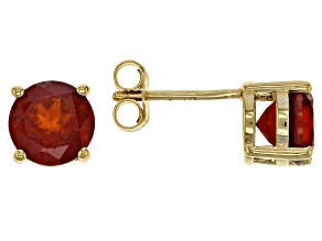Pre-Owned Red hessonite 18k yellow gold over silver stud earrings 2.82ctw