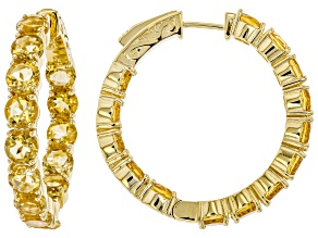 Pre-Owned Yellow citrine 18k gold over silver hoop earrings 11.00ctw
