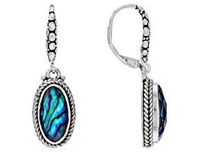 Pre-Owned Blue Abalone Shell Triplet Sterling Silver Dangle Earrings