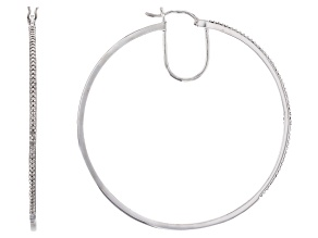 Pre-Owned Bella Luce ® 1.96ctw White Cubic Zirconia Platinum Over Sterling Silver Hoop Earrings