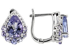 Pre-Owned Blue tanzanite rhodium over silver earrings 1.69ctw