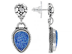 Pre-Owned Baby Blue Moon Drusy Quartz Silver Dangle Earrings