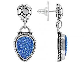 Pre-Owned Baby Blue Moon Drusy Quartz Silver Dangle Earrings