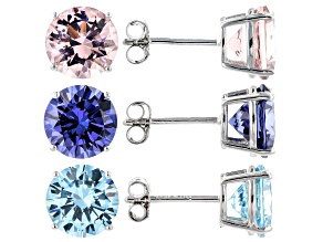 Pre-Owned Blue Cubic Zirconia And Pink Morganite Simulant Rhodium Over Silver Earrings Set of 3 17.5