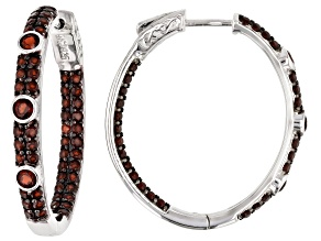 Pre-Owned Red Garnet Rhodium Over Silver Hoop Earrings 3.72ctw