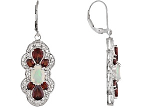 Pre-Owned Red Garnet Rhodium Over Sterling Silver Earrings 5.76ctw