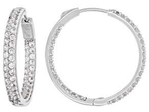 Pre-Owned White Zircon Rhodium Over Silver Inside/Outside Hoop Earrings 4.48ctw