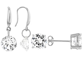 Pre-Owned White Cubic Zirconia Rhodium Over Sterling Silver Earrings- Set of 2 8.16ctw