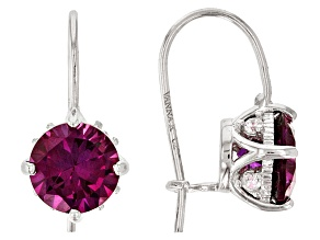 Pre-Owned Pink Lab Created Sapphire And White Cubic Zirconia Platineve Earrings 2.92ctw
