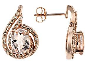Pre-Owned Peach Cor-De-Rosa Morganite™ 10k Rose Gold Earrings 2.14ctw