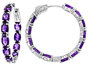 Pre-Owned Purple Amethyst Rhodium Over Silver Inside/Outside Hoop Earrings 9.54ctw