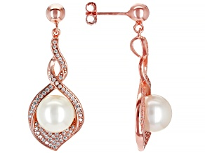 Pre-Owned White Cultured Freshwater Pearl & Cubic Zirconia 1.14ctw 18k Rose Gold Over Sterling Silve