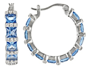 Pre-Owned Blue And White Cubic Zirconia Rhodium Over Sterling Silver Hoop Earrings 8.13ctw