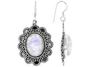 Pre-Owned Rainbow Moonstone Sterling Silver Dangle Earrings