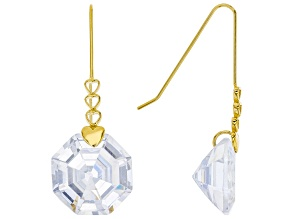 Pre-Owned White Cubic Zirconia 18K Yellow Gold Over Sterling Silver Dangle Earrings 30.66ctw