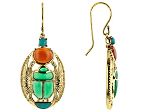 Pre-Owned Multi Stone 18K Yellow Gold Over Brass Scarab Earrings