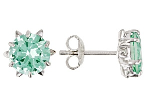 Pre-Owned Green Lab Created Spinel Rhodium Over Silver Earrings 3.43ctw