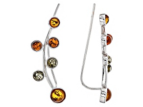 Pre-Owned Multi Amber Sterling Silver Climber Earrings