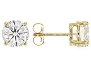 Pre-Owned Moissanite Fire® 2.40ctw Diamond Equivalent Weight Round 14k Yellow Gold Stud Earrings