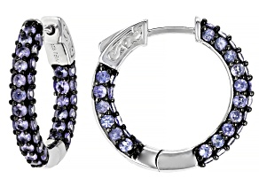 Pre-Owned Blue tanzanite rhodium over sterling silver hoop earrings 3.48ctw