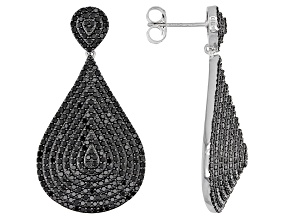 Pre-Owned  Black Spinel Rhodium Over Silver Earrings 4.20ctw