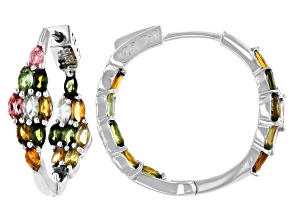 Pre-Owned Multi-Color Tourmaline Rhodium Over Sterling Silver Inside Out Hoop Earrings 2.75ctw
