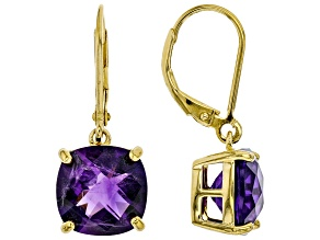 Pre-Owned Purple Amethyst 18k Yellow Gold Over Sterling Silver Earrings 6.50ctw