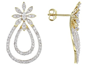 Pre-Owned White Diamond 10K Yellow Gold Earrings 1.32ctw