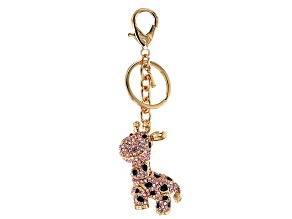 Pre-Owned Off Park ® Collection multi color crystal gold tone giraffe keychain