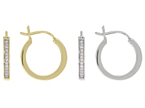 Pre-Owned White Diamond 10K White Gold And Yellow Gold Earrings Set of 2 0.15ctw