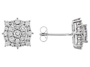 Pre-Owned White Lab-Grown Diamond 14K White Gold Earrings 1.08ctw